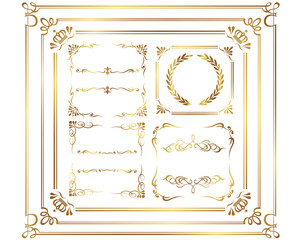 calligraphic elements frame vector