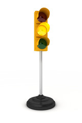 Yellow traffic light over white background