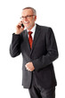 Mature business man with a pair of glasses, phoning