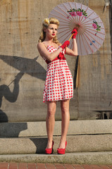 1940's starlet with umbrella