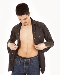 man with shirt open