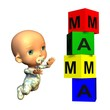 Baby mit Bausteinturm Mama