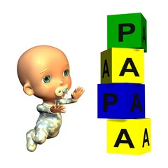 Baby mit Bausteinturm Papa