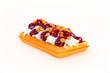Gofry ze śmietaną i wiśnie waffles with cream cherry