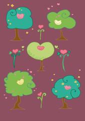 alberi con uccellini