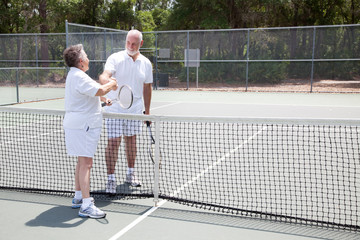 Tennis Seniors Handshake with Copyspace