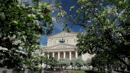flowering trees in front of Bolshoi Theatre in Moscow