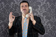 happy ok gesture telephone man retro hand sign