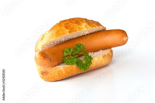 Bockwurst, Brötchen und Petersilie