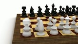 Chess pieces on table seen from the viewpoint of white poster