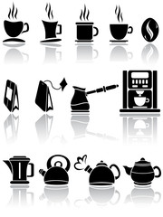 Set of coffee and tea icons