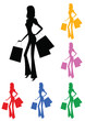 shopping, colorful women with bags