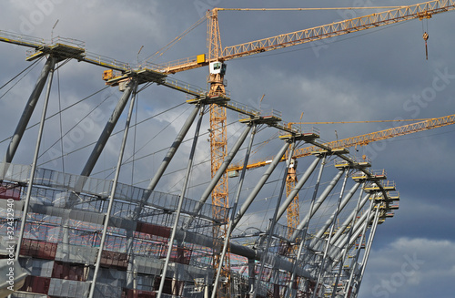 Sports stadium under construction. Warsaw