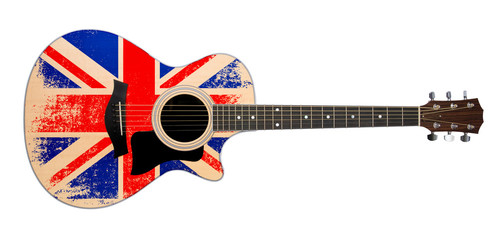 acoustic guitar with british flag