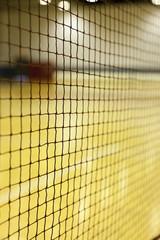 A badminton Net in a gym