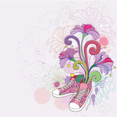 Abstract background with sneakers  and flowers.