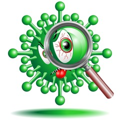 Virus Cartoon Cellula con Lente-Virus with Lens-Vector