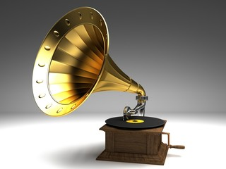 Golden gramophone on the background
