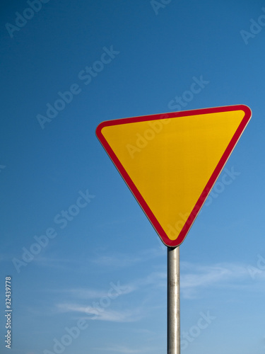 Warning road sign