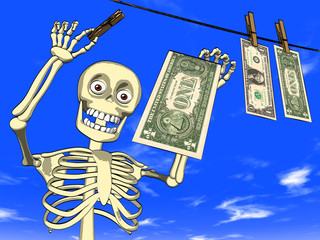 Money laundering - cartoon of skeleton with dollar bills