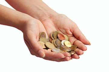 Female hands with money over white background