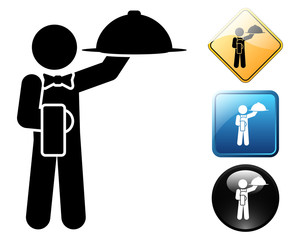 Waiter pictogram and signs