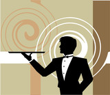 Waiter holding a empty tray. Vector illustration poster