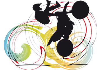 Silhouette of biker on abstract background illustration