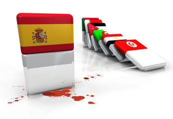 Spanish revolution protest domino effect flag Spain illustration