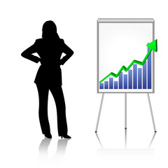 woman with business chart