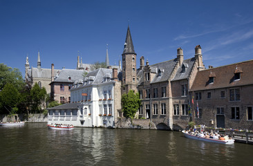 Canal tour boats , Dijver, Bruges, Belgium