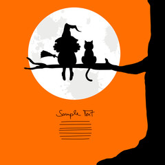 Witch With Broom & Cat Sitting On A Tree