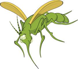 Terrible mosquito. Cartoon
