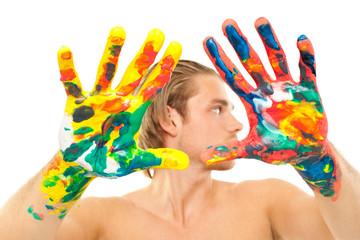 frische farben an den händen