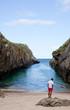 A man in the Beach of Nueva de Llanes. Asturias - Spain