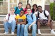 Multicultural College Students outside on campus