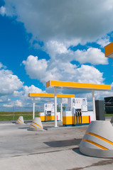 modern gas station on a background sky
