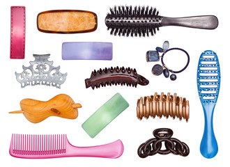Set of hairpins and hairbrushes