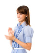 Portrait of young happy clapping business woman, isolated
