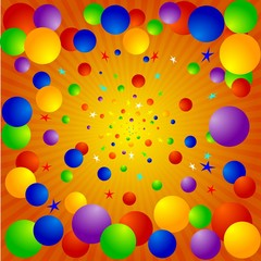 vector background with balloons, stars and rays