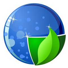 Stylized Earth with elements of land and water. vector