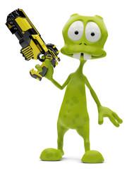 alien cartoon holding a gun
