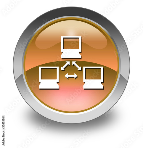 "Orange Glossy Pictogram ""Network"""