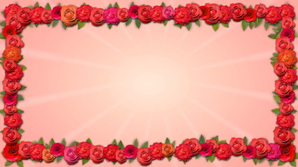 Copy Space Frame - Growing Organic Title with Roses in HD