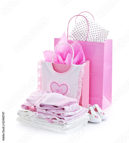 Pink baby shower presents