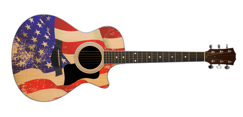 usa flag on acoustic guitar