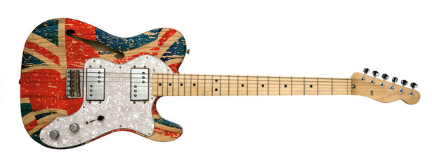 britain flag on electric guitar