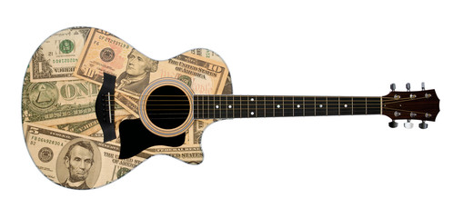 acuostic guitar with money