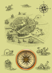 Old town illustration with compass