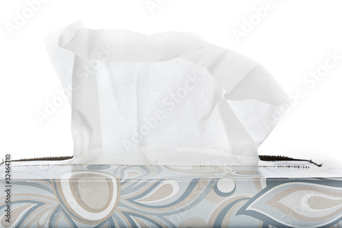 A tissue box on a white background